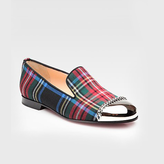 LOUBOUTIN'S IN ON THE SMOKING ACTION. TRES CHIC IN PLAID AND METALLIC. $995